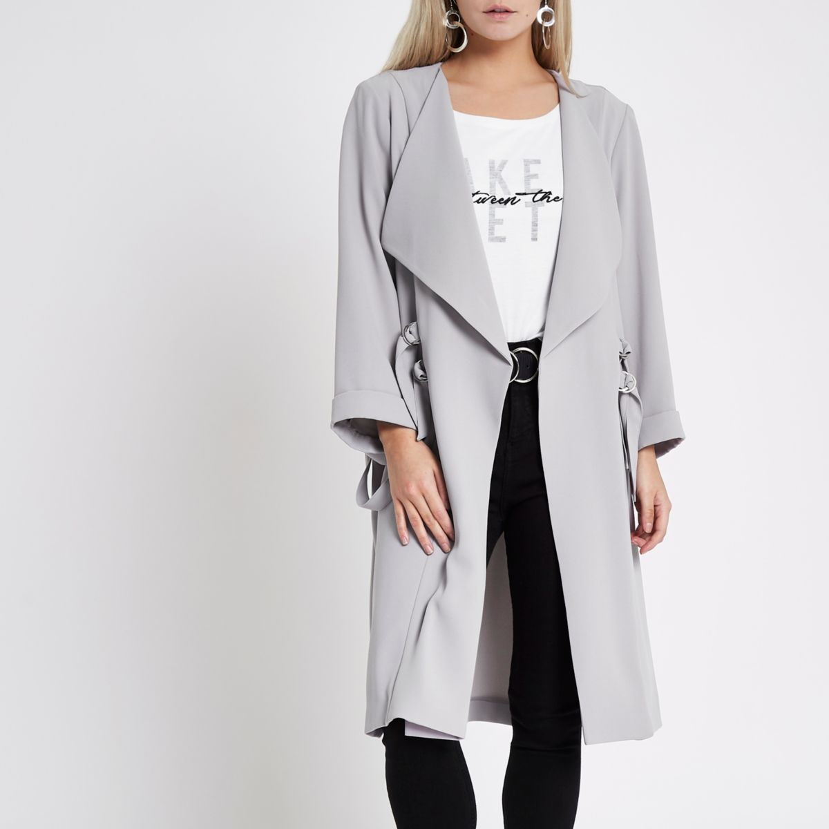 Petite grey D-ring duster coat