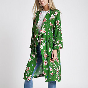 Petite – Manteau long à fleurs vert avec anneau en D sur le côté