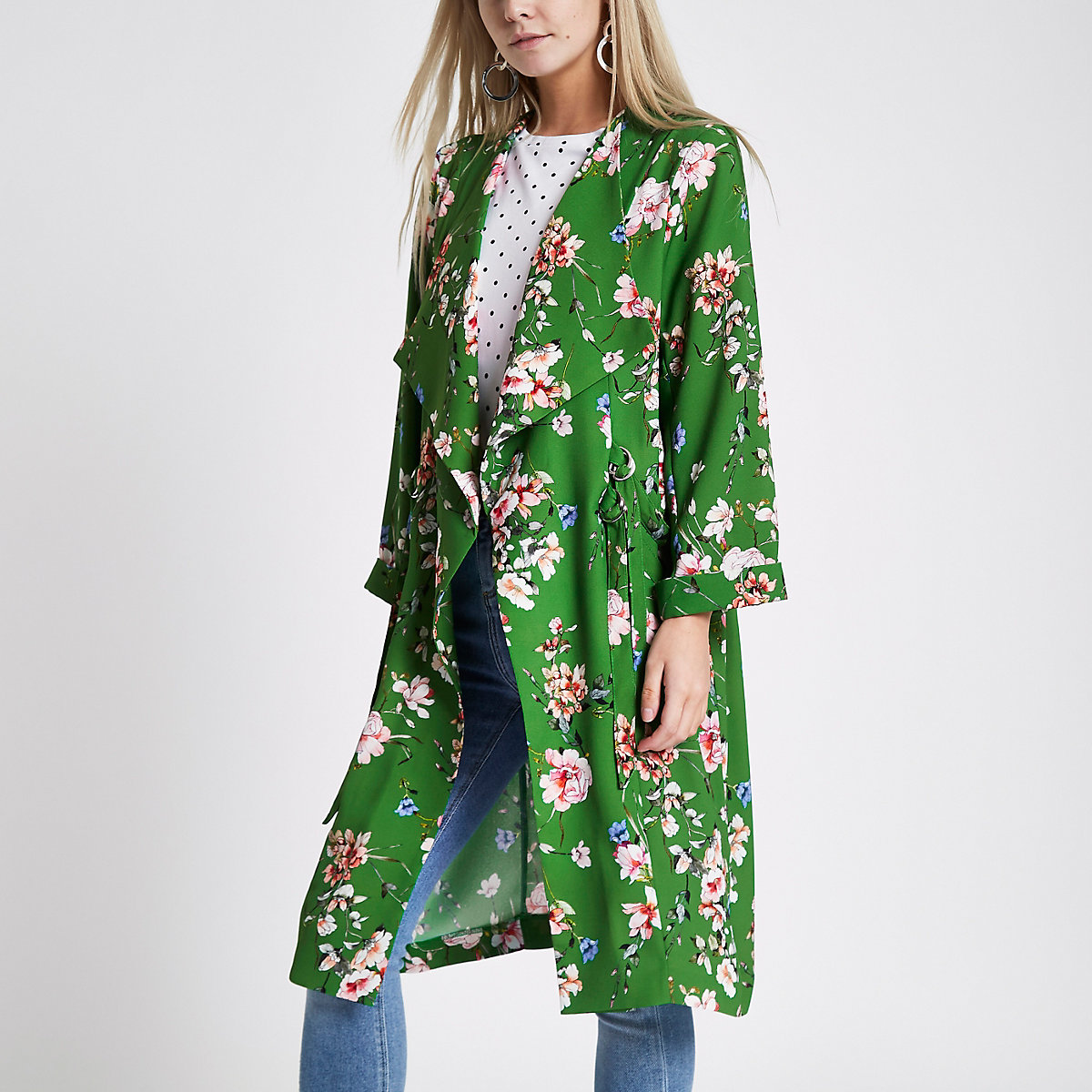 Petite green floral D-ring side duster coat