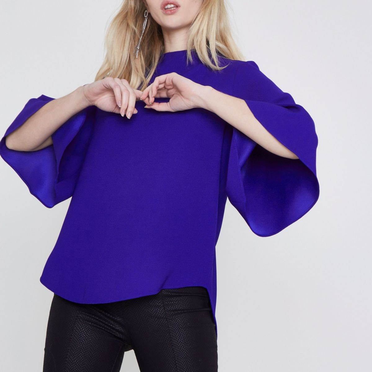 Blue high neck cape sleeve top