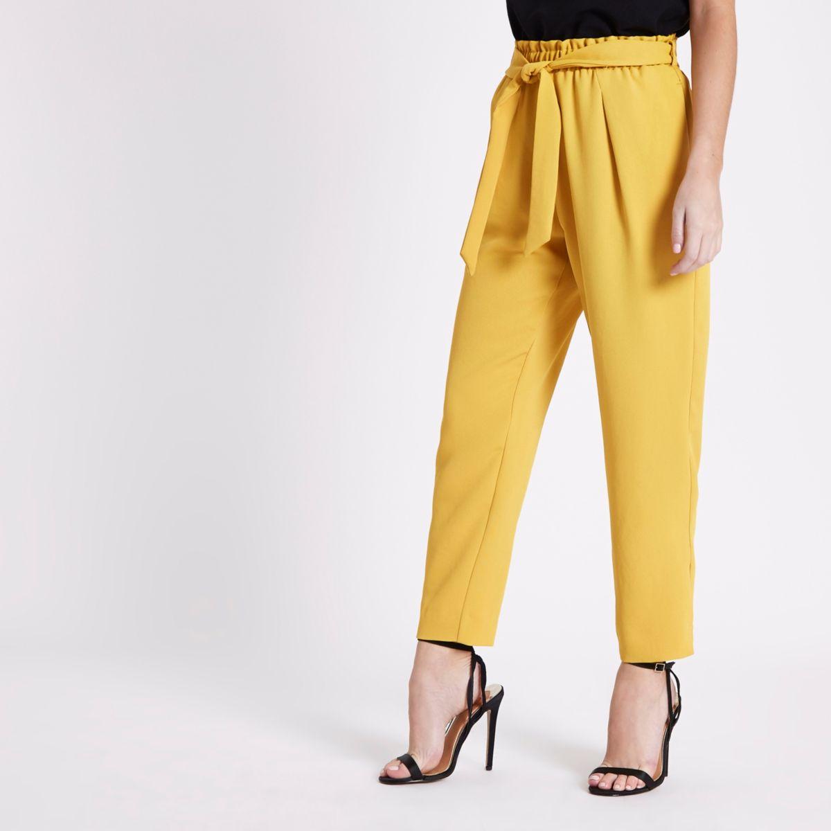 Petite yellow tapered leg trousers