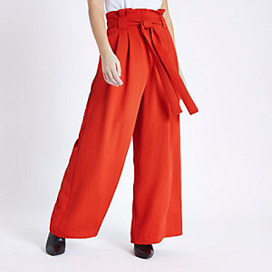 Petite red paper bag waist wide leg pants