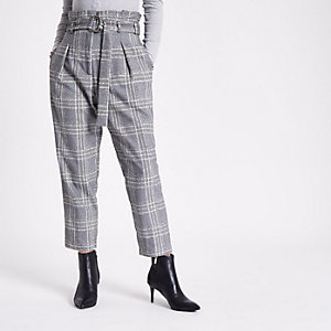 Petite grey check paperbag tapered pants