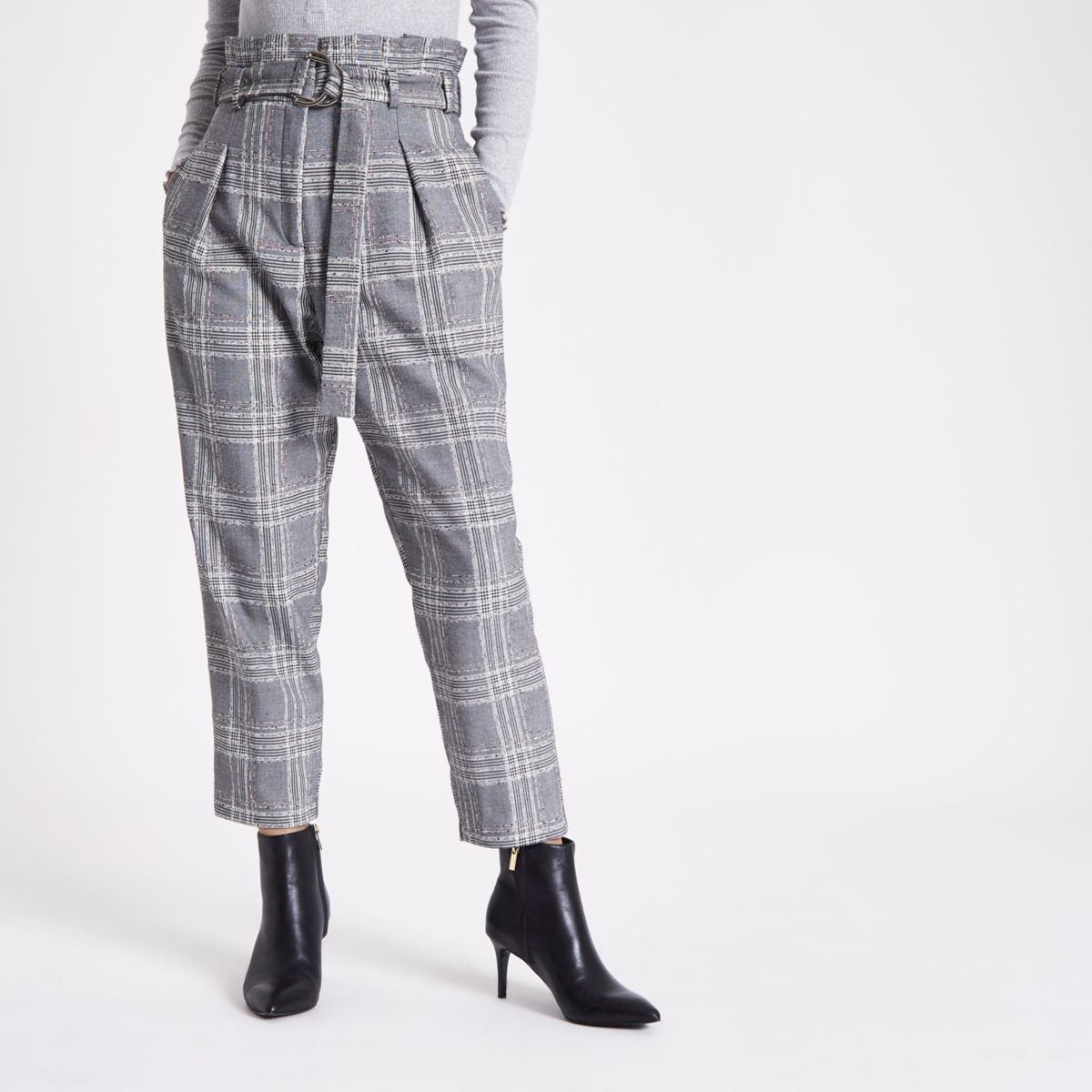 Petite grey check paperbag tapered trousers