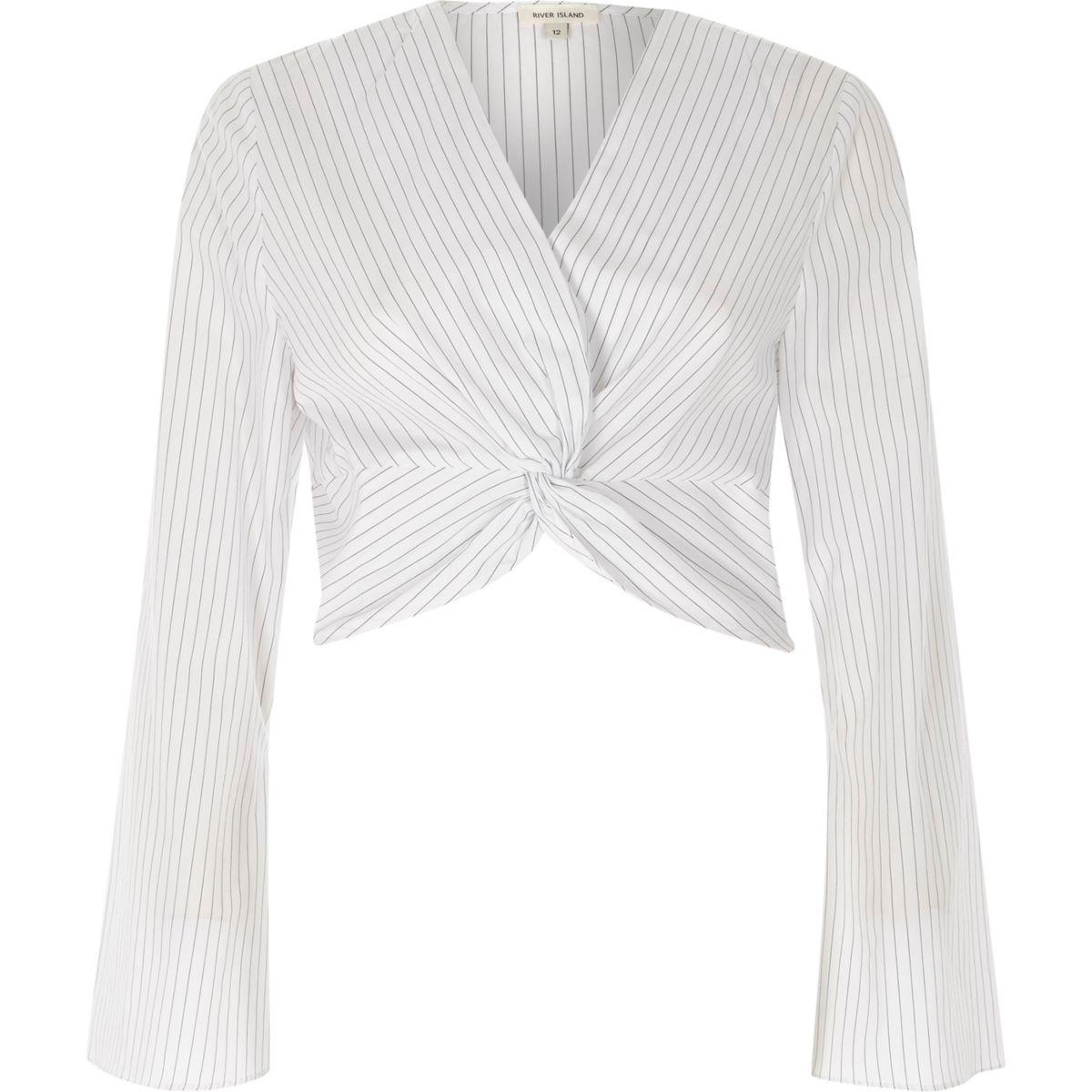 Cream stripe print knot long sleeve crop top