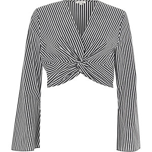 Black stripe print knot long sleeve crop top