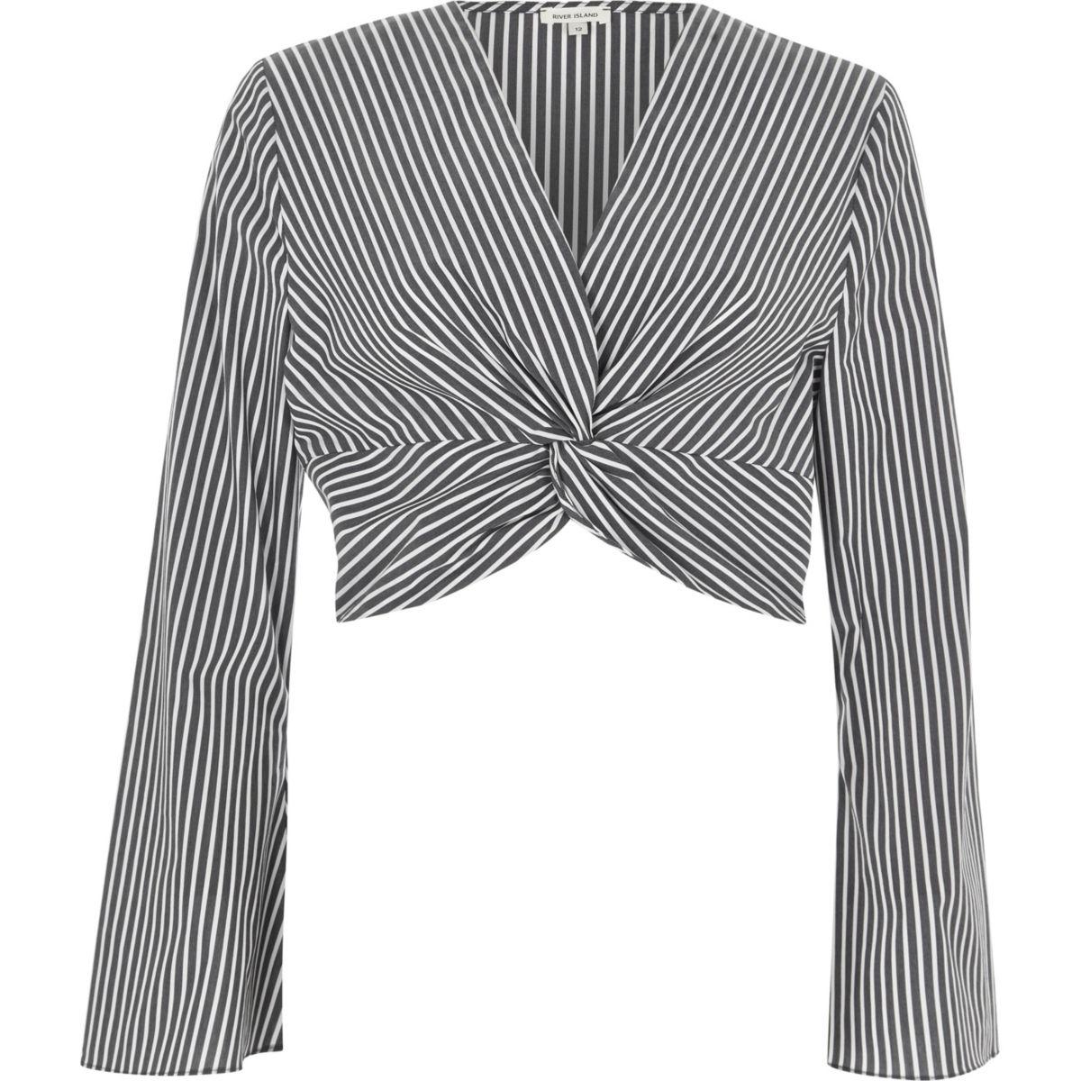 Crop Top mit Streifen und Knoten