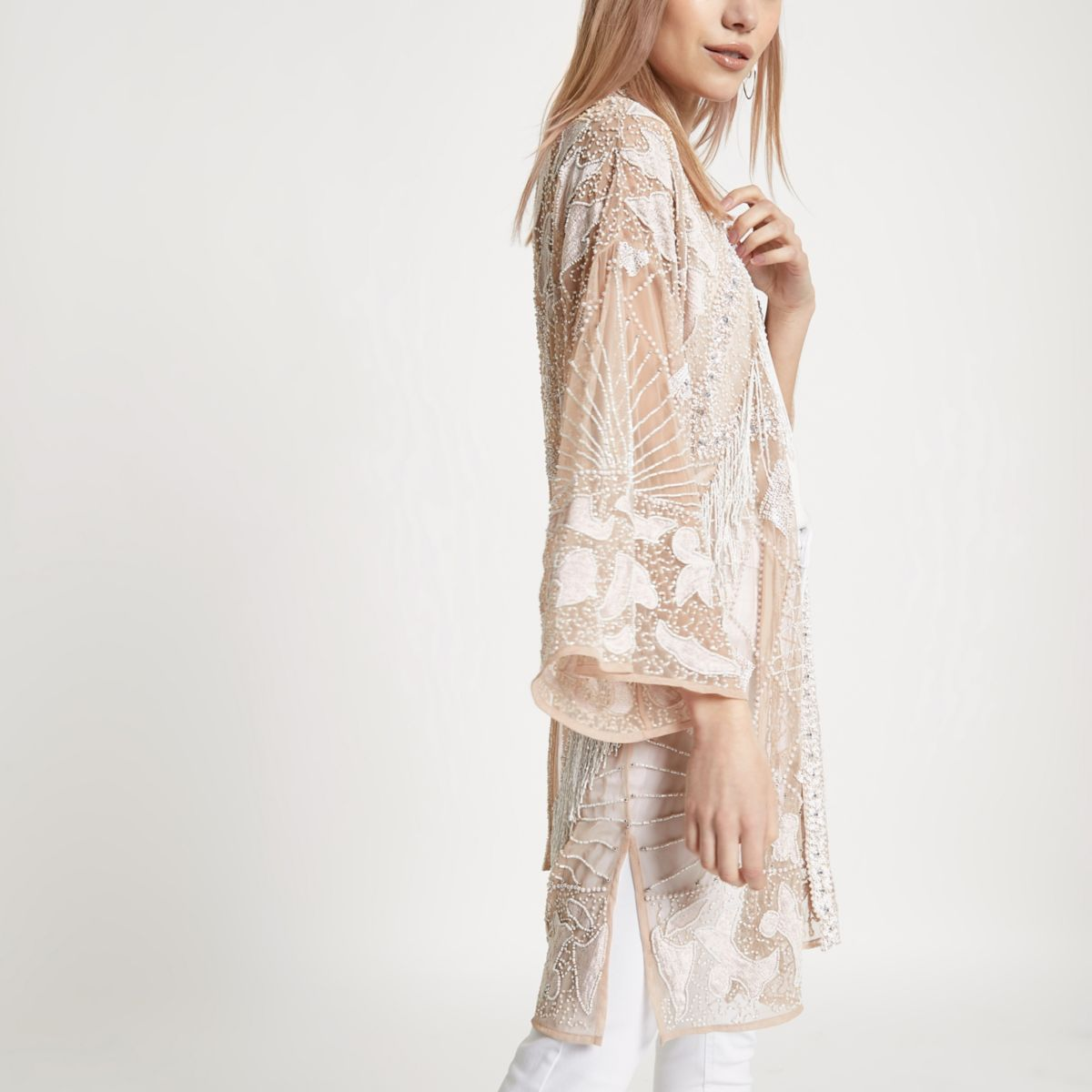 Petite cream bead embellished kimono