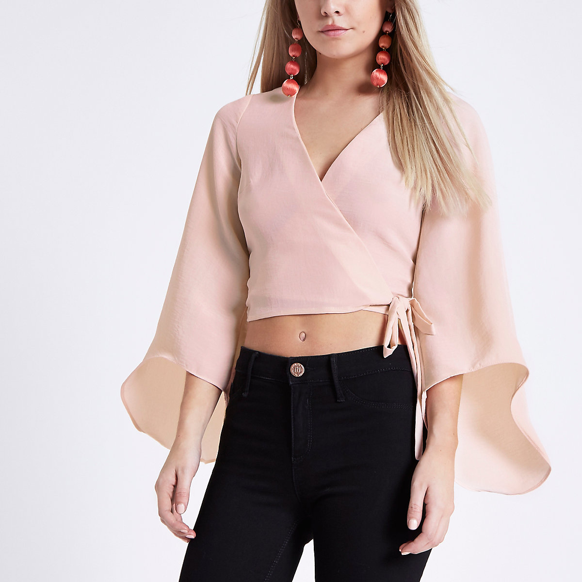 Peitte pink wrap flare sleeve top