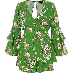 Green floral frill skort front wrap romper