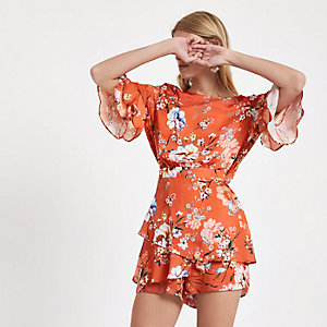 Combi-short à fleurs orange avec manches à volants