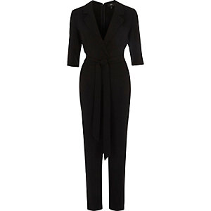 Black three quarter sleeve tailored jumpsuit