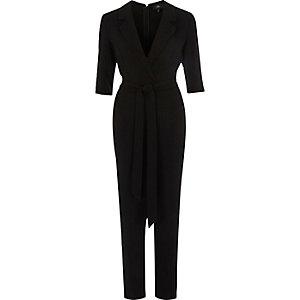 Zwarte tailored jumpsuit met driekwartmouw