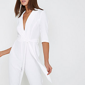 White three quarter sleeve tailored jumpsuit