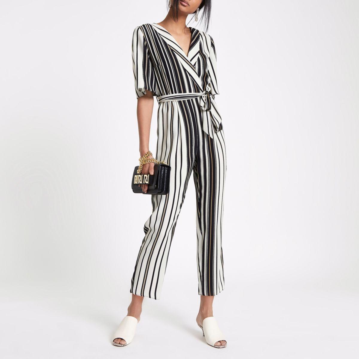 Black Stripe wrap tie waist jumpsuit
