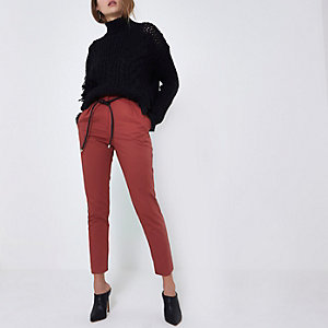 Burgundy paperbag waist tapered leg trousers