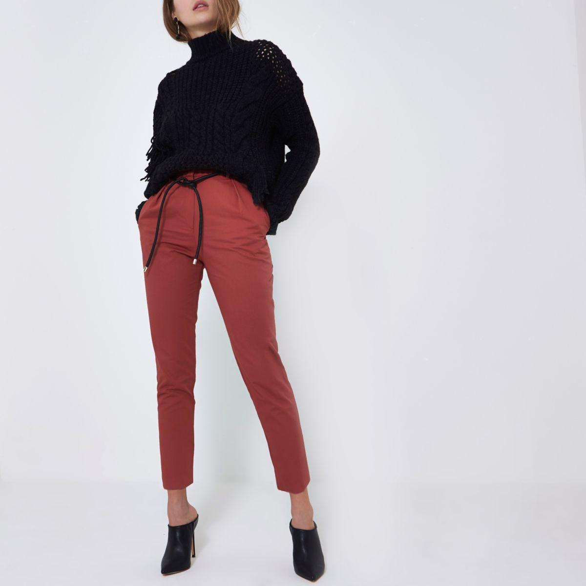 Burgundy paperbag waist tapered leg pants