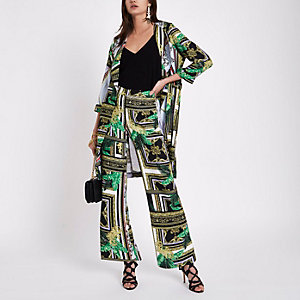 Green baroque print wide leg trousers