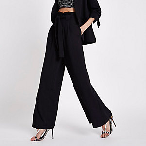 Black paperbag waist wide leg pants