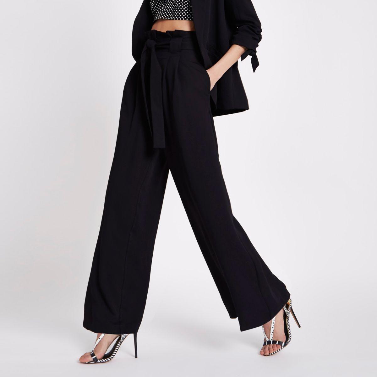 Black paperbag waist wide leg trousers
