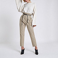 Beige paperbag waist tapered leg trousers