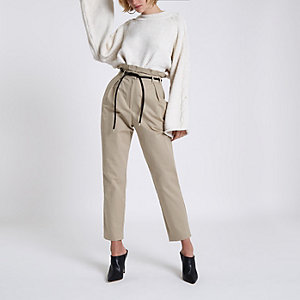 Beige paperbag waist tapered leg pants