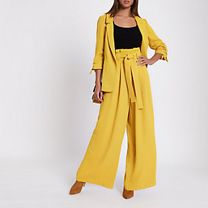 Yellow paper bag waist wide leg pants