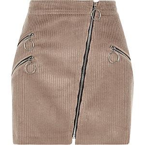 Mini jupe en velours côtelé marron à zips style motard