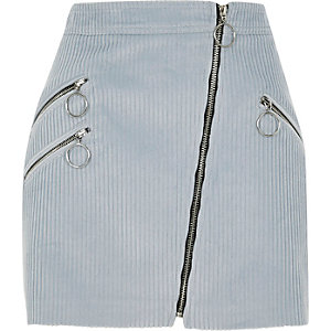Light blue corduroy hoop zip biker skirt