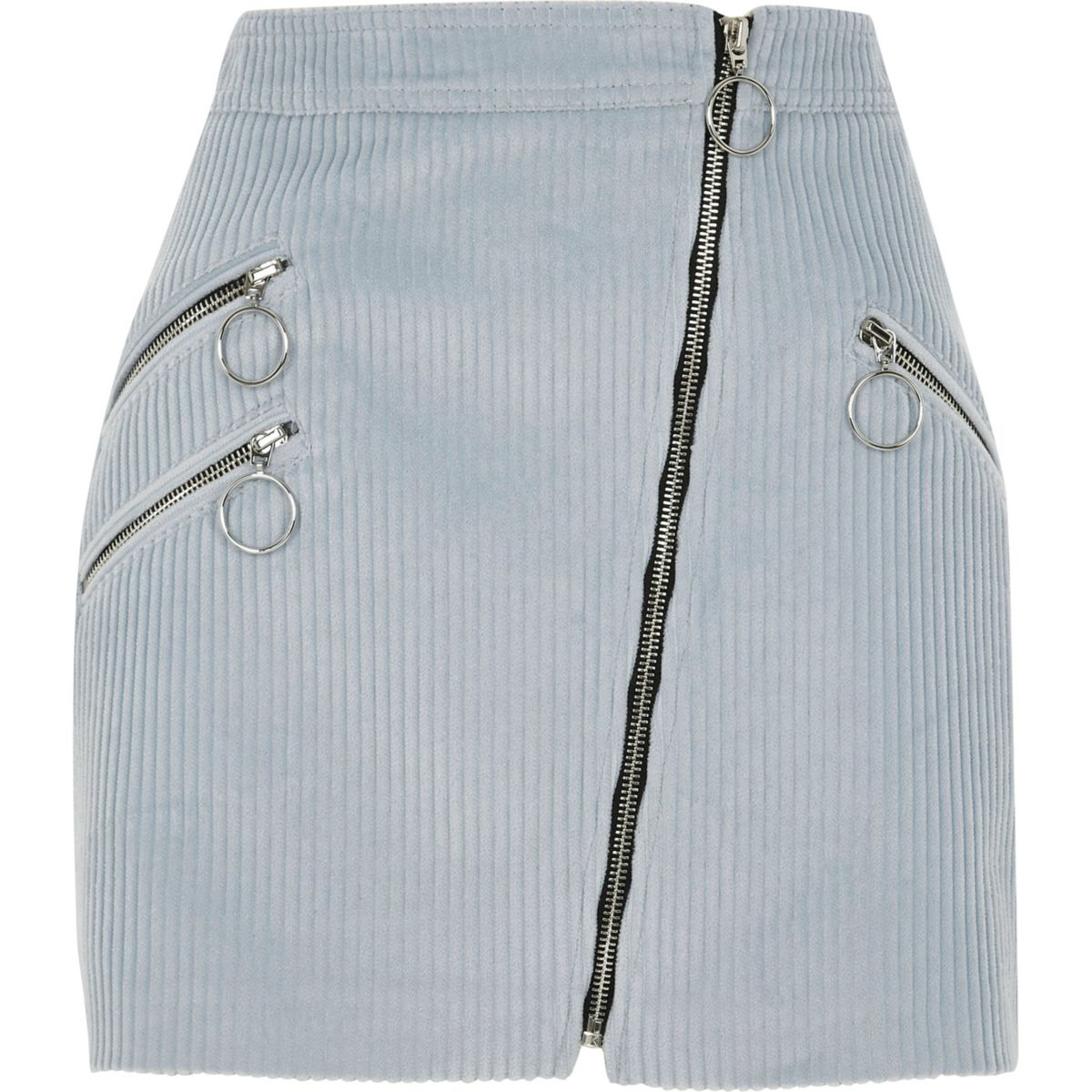 Light blue corduroy hoop zip biker skirt