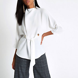 White eyelet tie up front high neck top