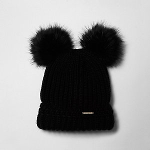 Black faux fur pom pom ears beanie hat