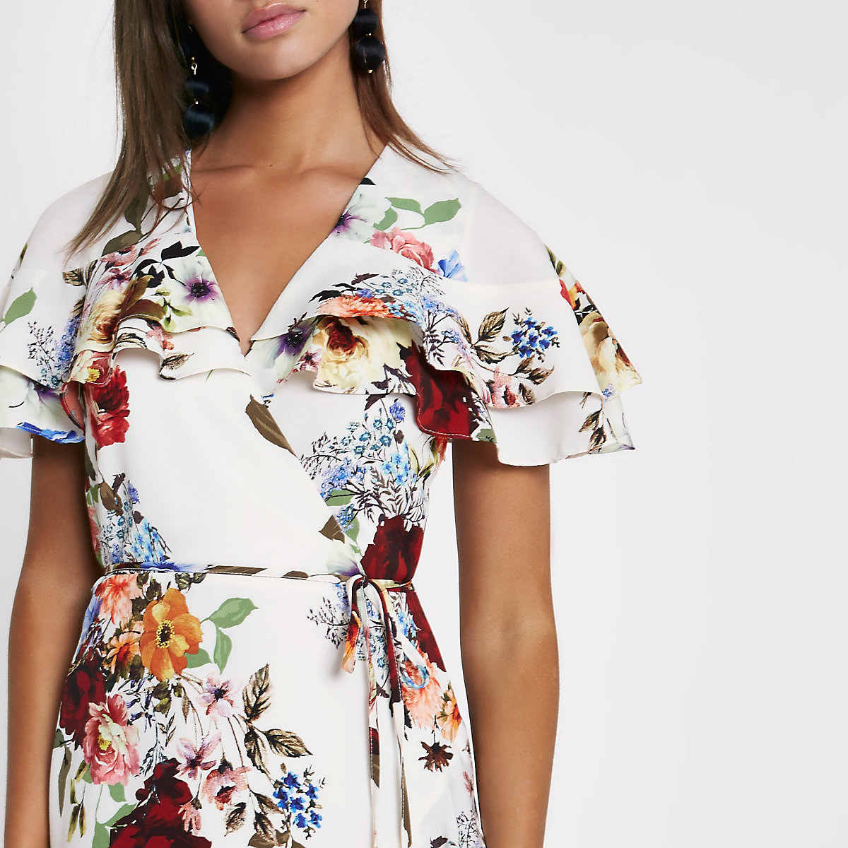 Cream floral frill wrap tie waist midi dress - Swing Dresses ... c2e1301a5