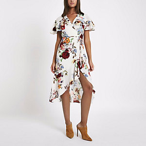 Cream floral frill wrap tie waist midi dress