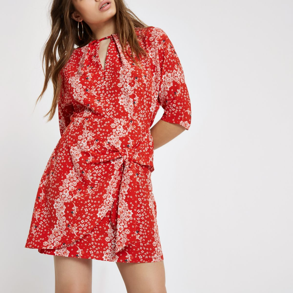 Red floral print tie front mini dress