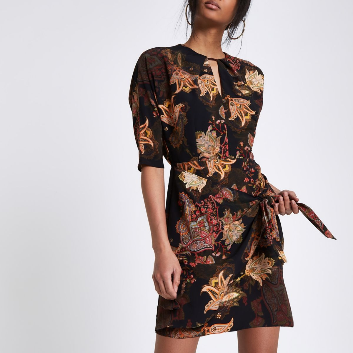 Black paisley print tie front mini dress