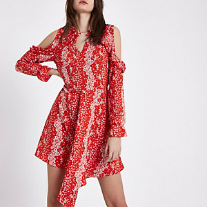 Red floral cold shoulder tie waist dress