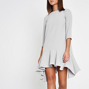 Light grey frill hem tie back swing dress