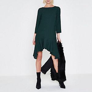 Dunkelgrünes Swing-Kleid mit Dreiviertelärmeln