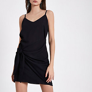 Black knot front slip dress