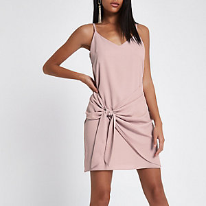 Light pink wrap tie front mini slip dress