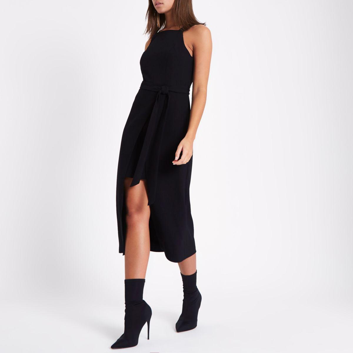 Black square neck wrap midi tie waist dress
