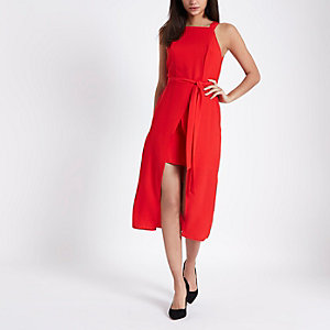 Red tie waist wrap front midi dress