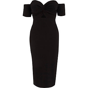 Black knot front bardot bodycon midi dress