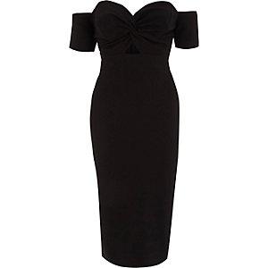 Black knot front bardot bodycon midi dress