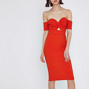 Red knot front bardot bodycon midi dress