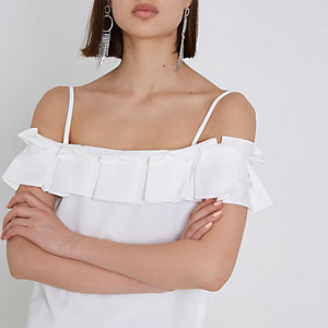 White structured ruffle cami top