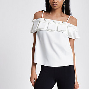 White bardot frill cami top