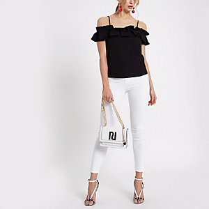 Black pleated frill cold shoulder top