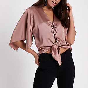 Copper brown tie front cape top